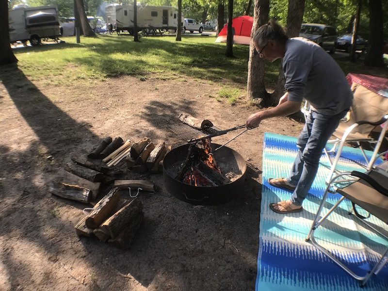 Making fire - Indiana Dunes State Park