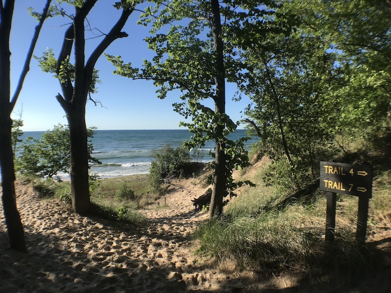 The reward at the end of the trail - a stunning view of Lake Michigan