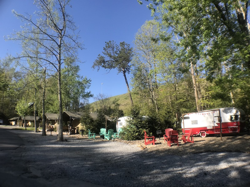 Camp LeConte is a sweet campground very close to downtown Gatlinburg, TN. In addition to RV sites, they offer cute camper and safari tent rentals.