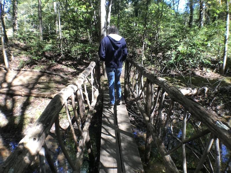 Footbridge on one of the nature trails at Asheville West KOA