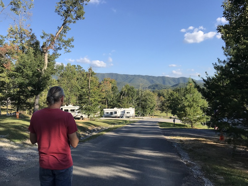 Great walking and beautiful mountain views at Honeysuckle Meadows RV Park in Sevierville, TN