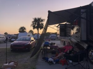 Chillaxin' at our cozy campsite just a few steps from the beach - Ocean Lakes Family Campground, Myrtle Beach, SC