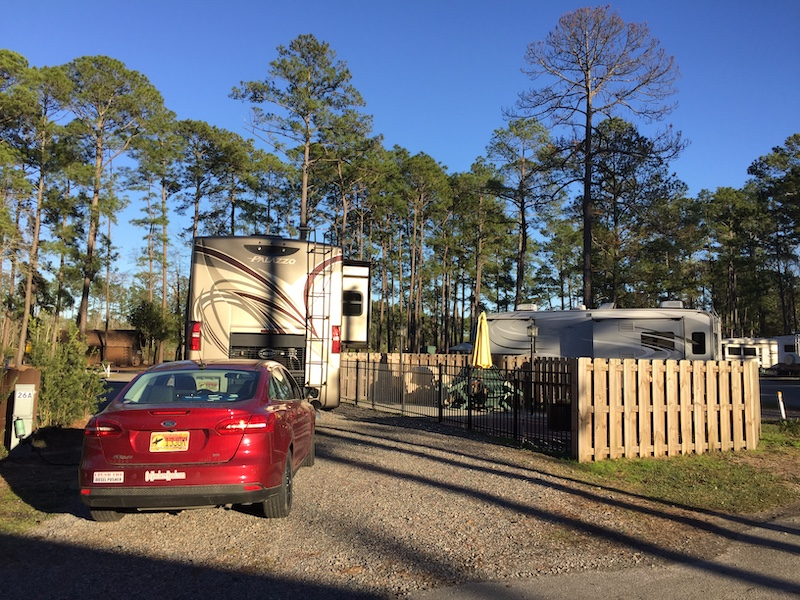 Deluxe patio site at Savannah South KOA