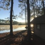 View of the lake on our morning walk at Savannah South KOA