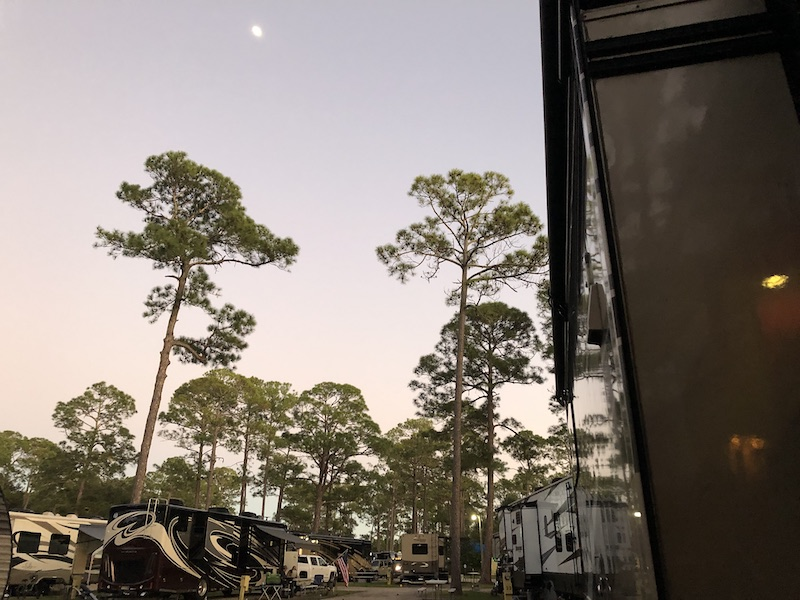 Early evening sky from our site at Sunshine Holiday Daytona Encore RV Resort