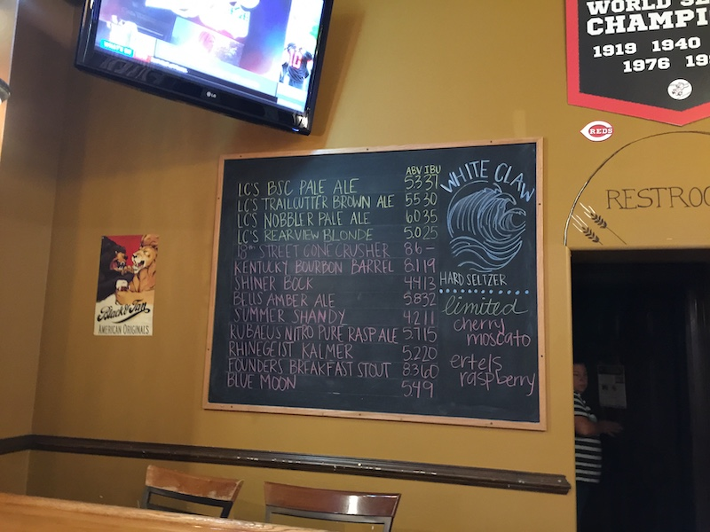 The beer list at Lil' Charlie's Restaurant and Brewery, Batesville, IN