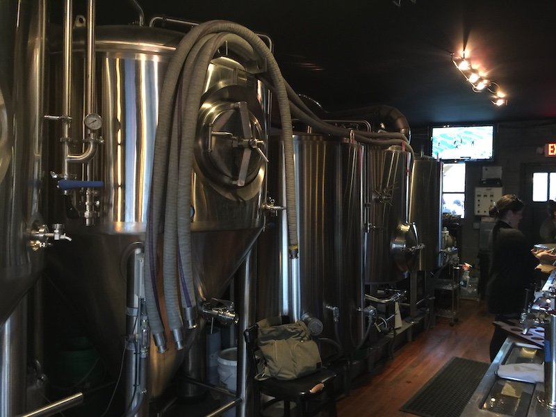 The brewing tanks at Black Mountain Brewing