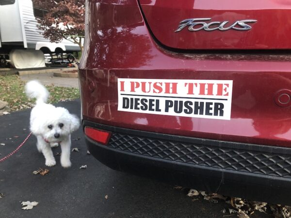 I Push The Diesel Pusher bumper sticker on the car