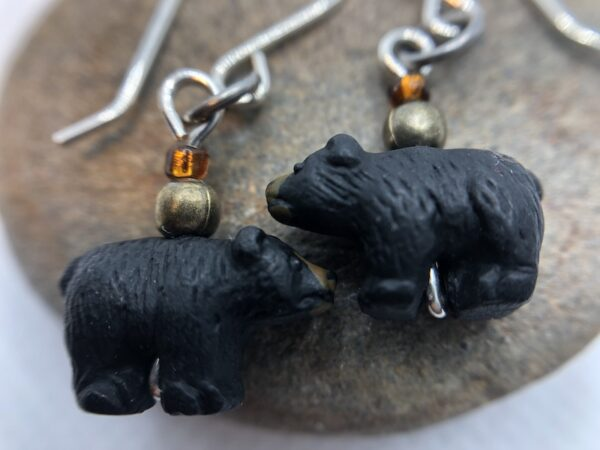 Handmade earrings with cute, tiny ceramic black bears