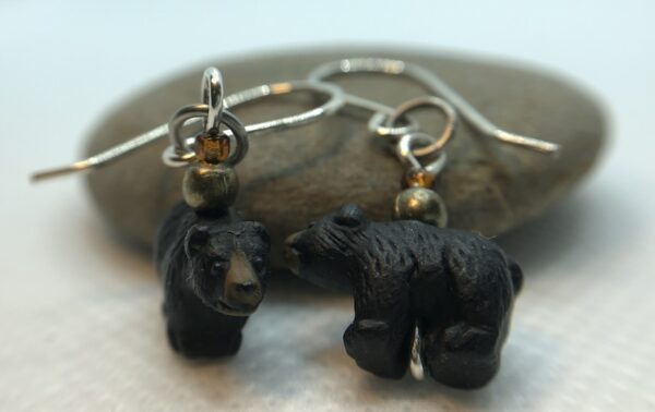 Cute Tiny Ceramic Black Bear Earrings
